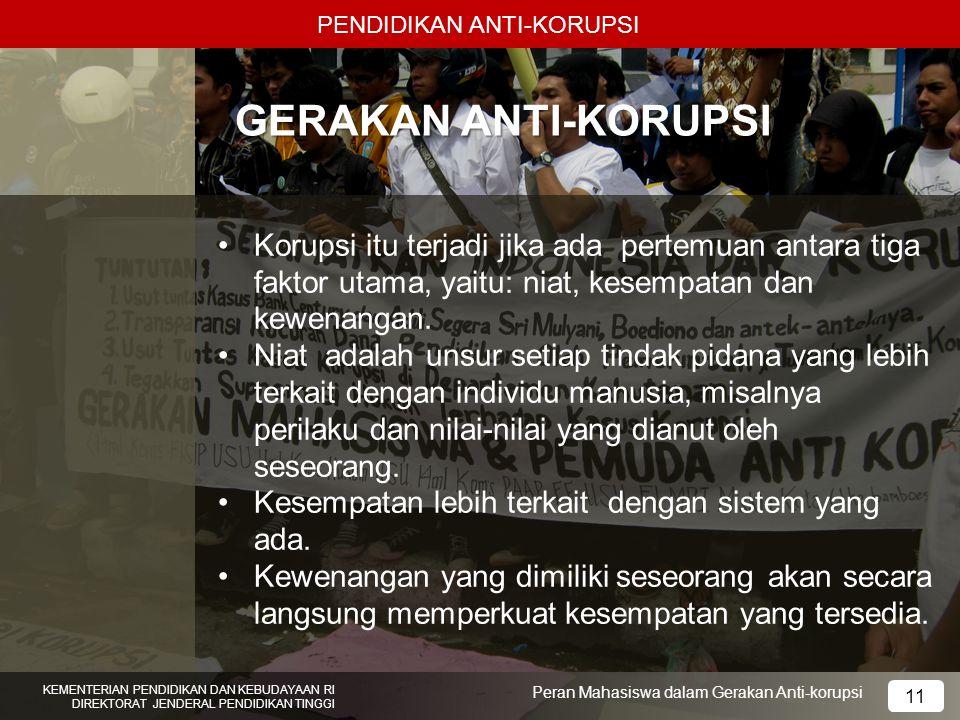 PENDIDIKAN ANTI-KORUPSI KEMENTERIAN PENDIDIKAN DAN KEBUDAYAAN RI DIREKTORAT JENDERAL PENDIDIKAN TINGGI 11 Peran Mahasiswa dalam Gerakan Anti-korupsi G