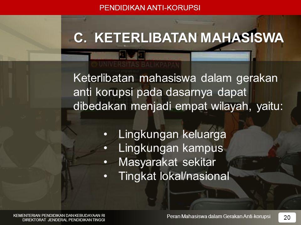 PENDIDIKAN ANTI-KORUPSI KEMENTERIAN PENDIDIKAN DAN KEBUDAYAAN RI DIREKTORAT JENDERAL PENDIDIKAN TINGGI 20 Peran Mahasiswa dalam Gerakan Anti-korupsi C