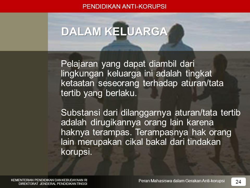 PENDIDIKAN ANTI-KORUPSI KEMENTERIAN PENDIDIKAN DAN KEBUDAYAAN RI DIREKTORAT JENDERAL PENDIDIKAN TINGGI 24 Peran Mahasiswa dalam Gerakan Anti-korupsi D