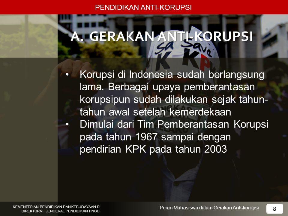 PENDIDIKAN ANTI-KORUPSI KEMENTERIAN PENDIDIKAN DAN KEBUDAYAAN RI DIREKTORAT JENDERAL PENDIDIKAN TINGGI 8 Peran Mahasiswa dalam Gerakan Anti-korupsi A.