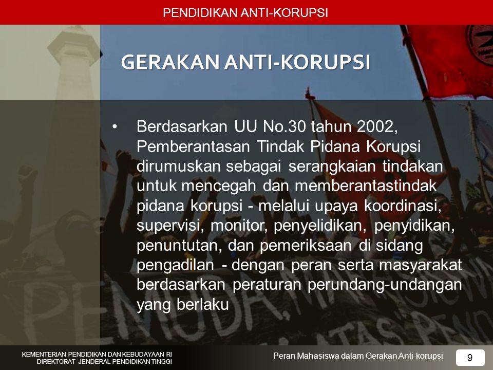PENDIDIKAN ANTI-KORUPSI KEMENTERIAN PENDIDIKAN DAN KEBUDAYAAN RI DIREKTORAT JENDERAL PENDIDIKAN TINGGI 9 Peran Mahasiswa dalam Gerakan Anti-korupsi GE