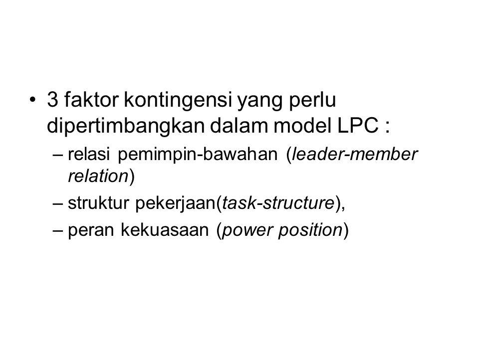 3 faktor kontingensi yang perlu dipertimbangkan dalam model LPC : –relasi pemimpin-bawahan (leader-member relation) –struktur pekerjaan(task-structure), –peran kekuasaan (power position)