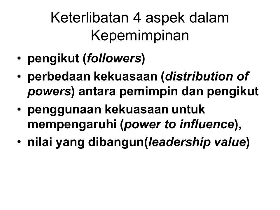 Keterlibatan 4 aspek dalam Kepemimpinan pengikut (followers) perbedaan kekuasaan (distribution of powers) antara pemimpin dan pengikut penggunaan kekuasaan untuk mempengaruhi (power to influence), nilai yang dibangun(leadership value)