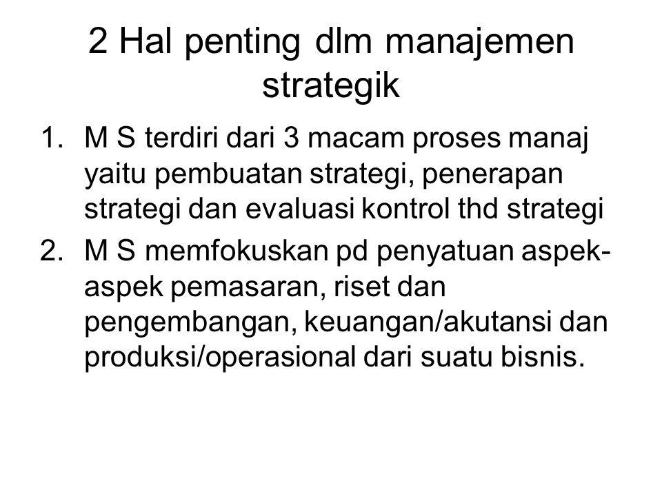 2 Hal penting dlm manajemen strategik 1.M S terdiri dari 3 macam proses manaj yaitu pembuatan strategi, penerapan strategi dan evaluasi kontrol thd strategi 2.M S memfokuskan pd penyatuan aspek- aspek pemasaran, riset dan pengembangan, keuangan/akutansi dan produksi/operasional dari suatu bisnis.