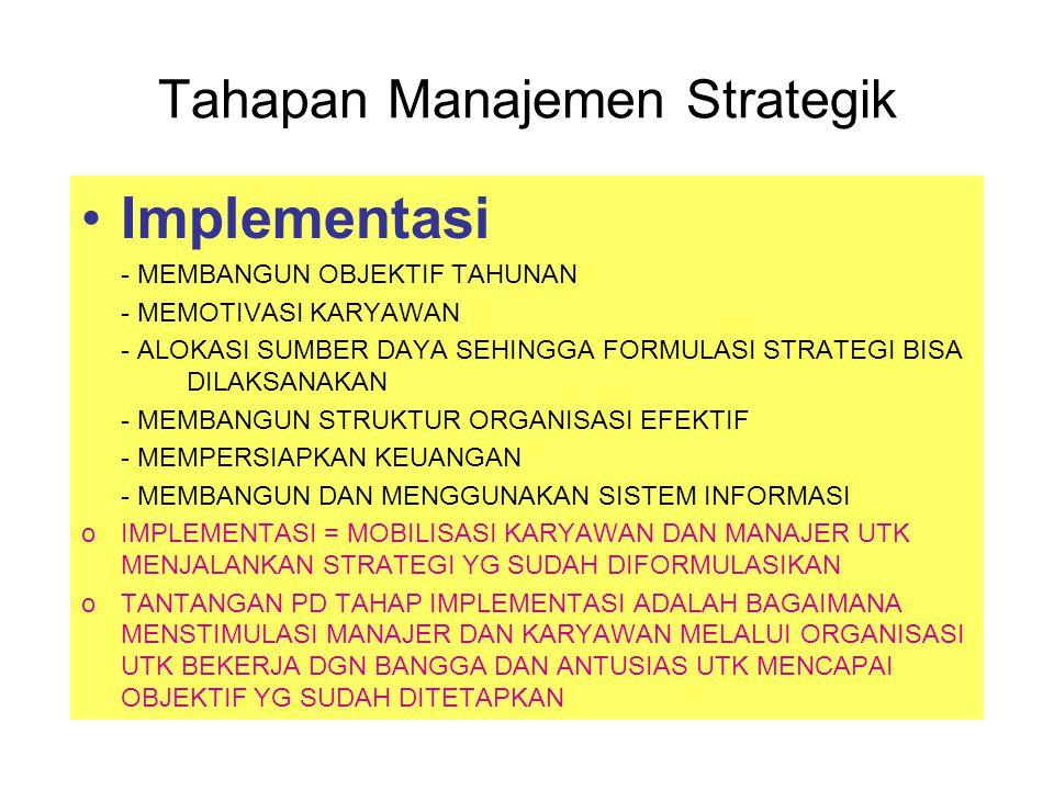 Tahapan Manajemen Strategik Implementasi - MEMBANGUN OBJEKTIF TAHUNAN - MEMOTIVASI KARYAWAN - ALOKASI SUMBER DAYA SEHINGGA FORMULASI STRATEGI BISA DILAKSANAKAN - MEMBANGUN STRUKTUR ORGANISASI EFEKTIF - MEMPERSIAPKAN KEUANGAN - MEMBANGUN DAN MENGGUNAKAN SISTEM INFORMASI oIMPLEMENTASI = MOBILISASI KARYAWAN DAN MANAJER UTK MENJALANKAN STRATEGI YG SUDAH DIFORMULASIKAN oTANTANGAN PD TAHAP IMPLEMENTASI ADALAH BAGAIMANA MENSTIMULASI MANAJER DAN KARYAWAN MELALUI ORGANISASI UTK BEKERJA DGN BANGGA DAN ANTUSIAS UTK MENCAPAI OBJEKTIF YG SUDAH DITETAPKAN