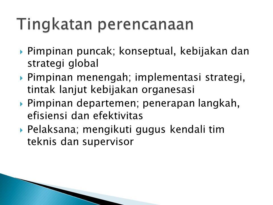  Pimpinan puncak; konseptual, kebijakan dan strategi global  Pimpinan menengah; implementasi strategi, tintak lanjut kebijakan organesasi  Pimpinan