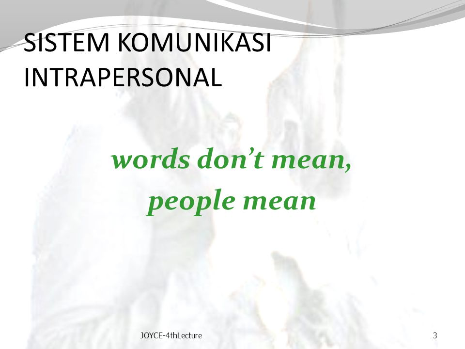 SISTEM KOMUNIKASI INTRAPERSONAL words don't mean, people mean JOYCE-4thLecture3