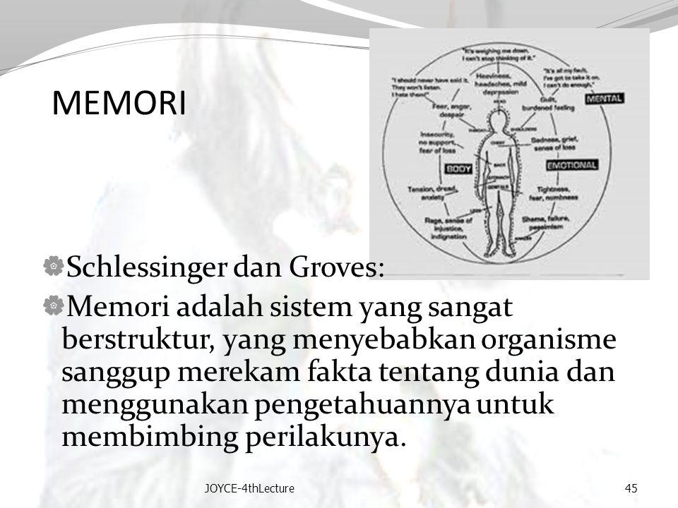MEMORI  Schlessinger dan Groves:  Memori adalah sistem yang sangat berstruktur, yang menyebabkan organisme sanggup merekam fakta tentang dunia dan m