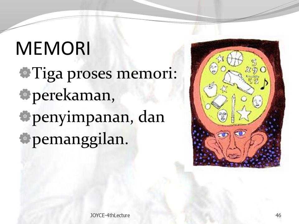 MEMORI  Tiga proses memori:  perekaman,  penyimpanan, dan  pemanggilan. JOYCE-4thLecture46