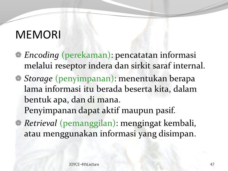 MEMORI  Encoding (perekaman): pencatatan informasi melalui reseptor indera dan sirkit saraf internal.  Storage (penyimpanan): menentukan berapa lama