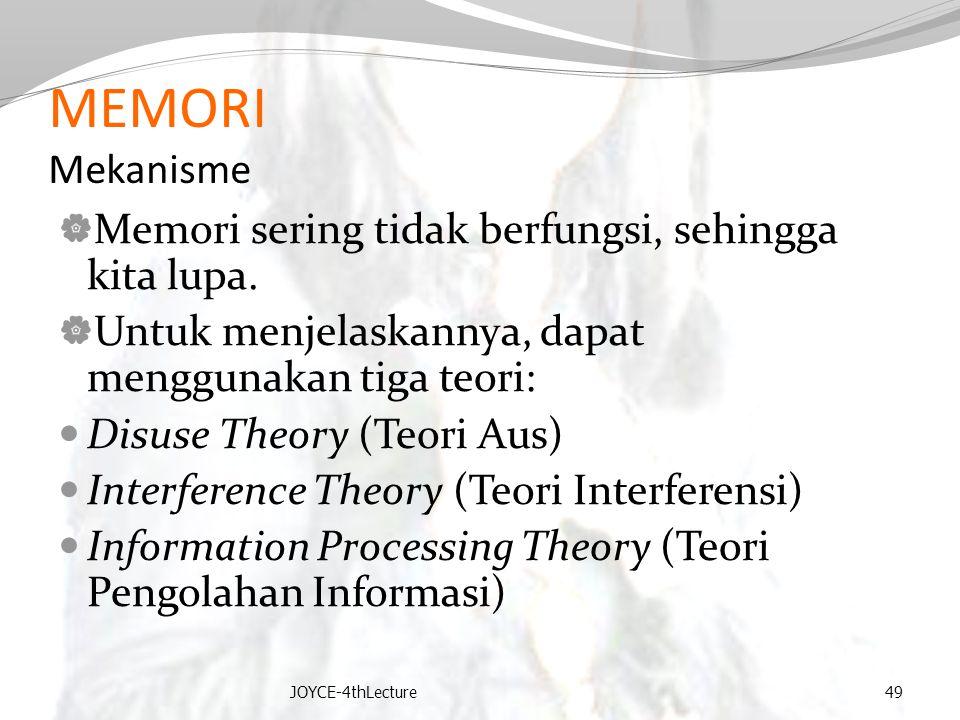 MEMORI Mekanisme  Memori sering tidak berfungsi, sehingga kita lupa.  Untuk menjelaskannya, dapat menggunakan tiga teori: Disuse Theory (Teori Aus)