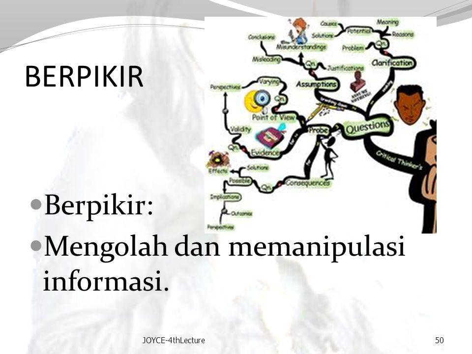 BERPIKIR Berpikir: Mengolah dan memanipulasi informasi. JOYCE-4thLecture50