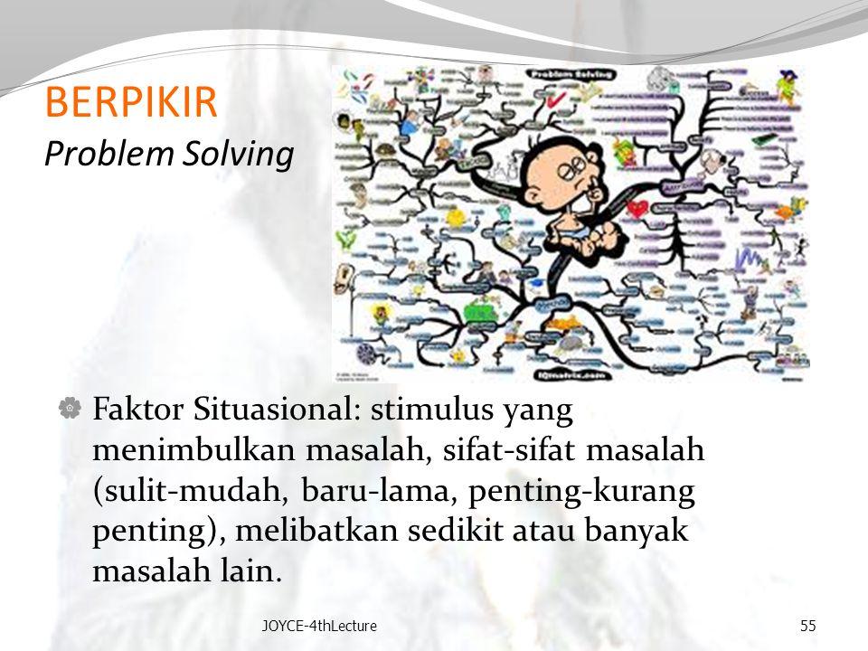 BERPIKIR Problem Solving  Faktor Situasional: stimulus yang menimbulkan masalah, sifat-sifat masalah (sulit-mudah, baru-lama, penting-kurang penting)