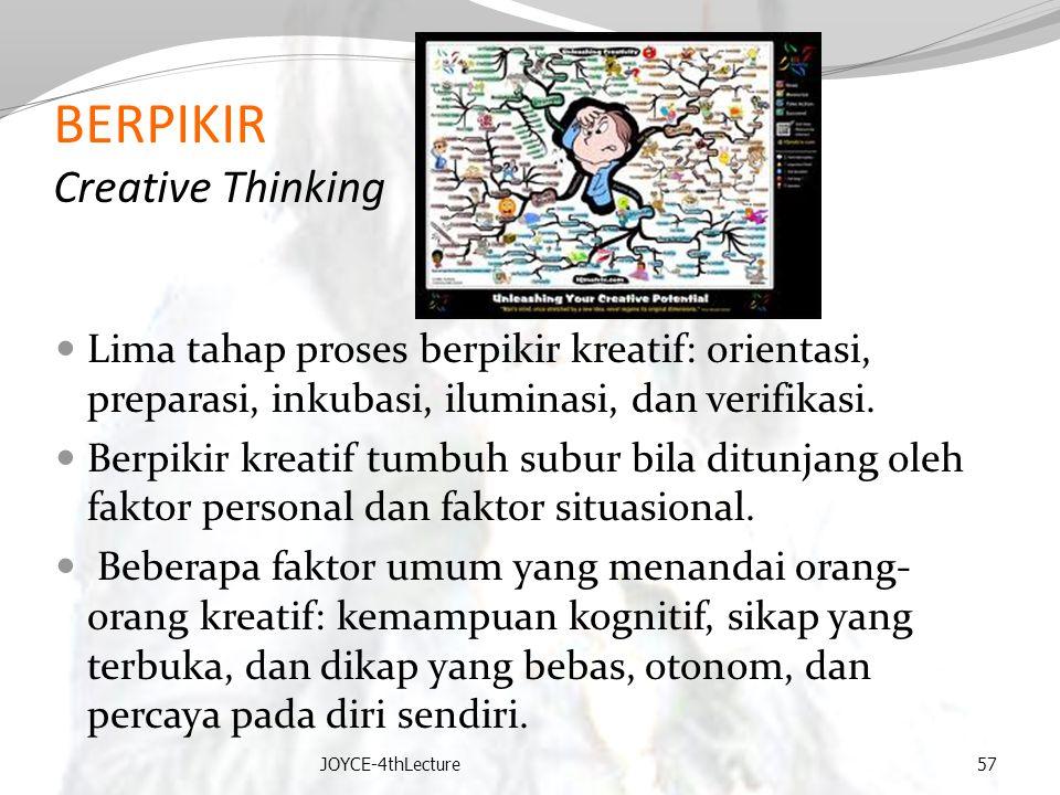 BERPIKIR Creative Thinking Lima tahap proses berpikir kreatif: orientasi, preparasi, inkubasi, iluminasi, dan verifikasi. Berpikir kreatif tumbuh subu