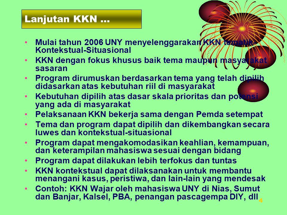 3 PENDAHULUAN KKN: Dilaksanakan di masyarakat dan langsung berinteraksi dengan masyarakat Bertujuan antara lain untuk memberdayakan masyarakat Memberi