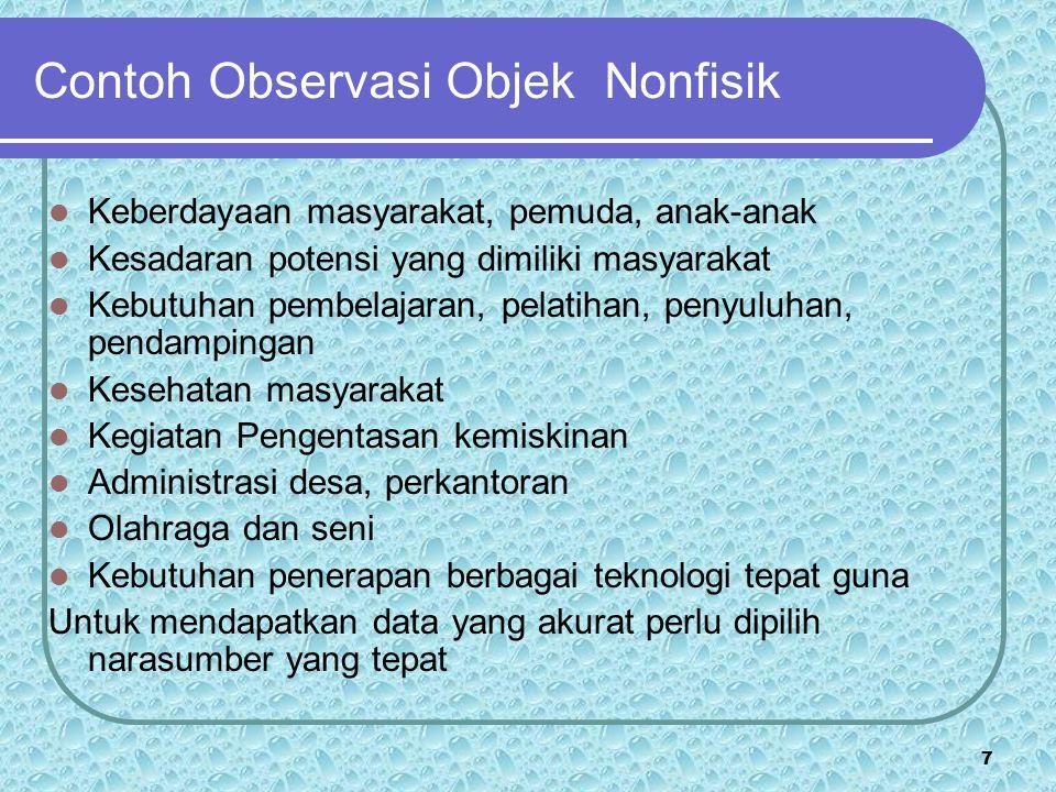 6 Contoh Observasi Objek Fisik  Kondisi kampung secara keseluruhan  Jalan setempat  Perumahan warga, balai desa, tempat pertemuan  Kebersihan kamp