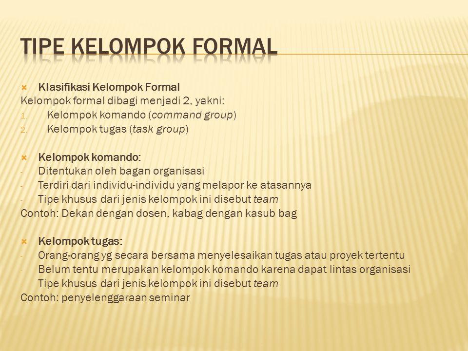  Klasifikasi Kelompok Formal Kelompok formal dibagi menjadi 2, yakni: 1. Kelompok komando (command group) 2. Kelompok tugas (task group)  Kelompok k