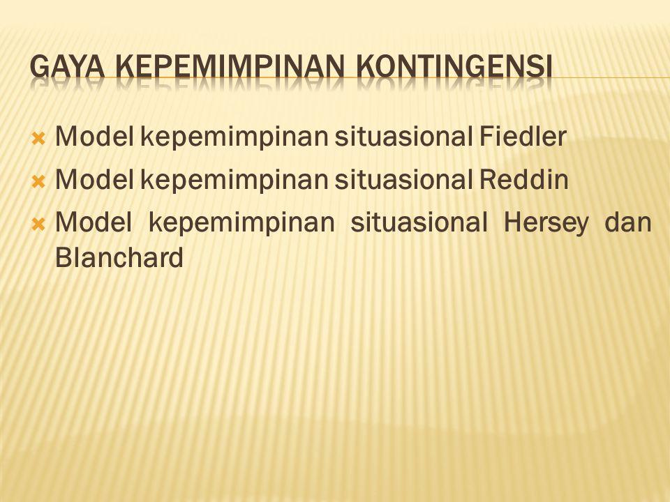  Model kepemimpinan situasional Fiedler  Model kepemimpinan situasional Reddin  Model kepemimpinan situasional Hersey dan Blanchard