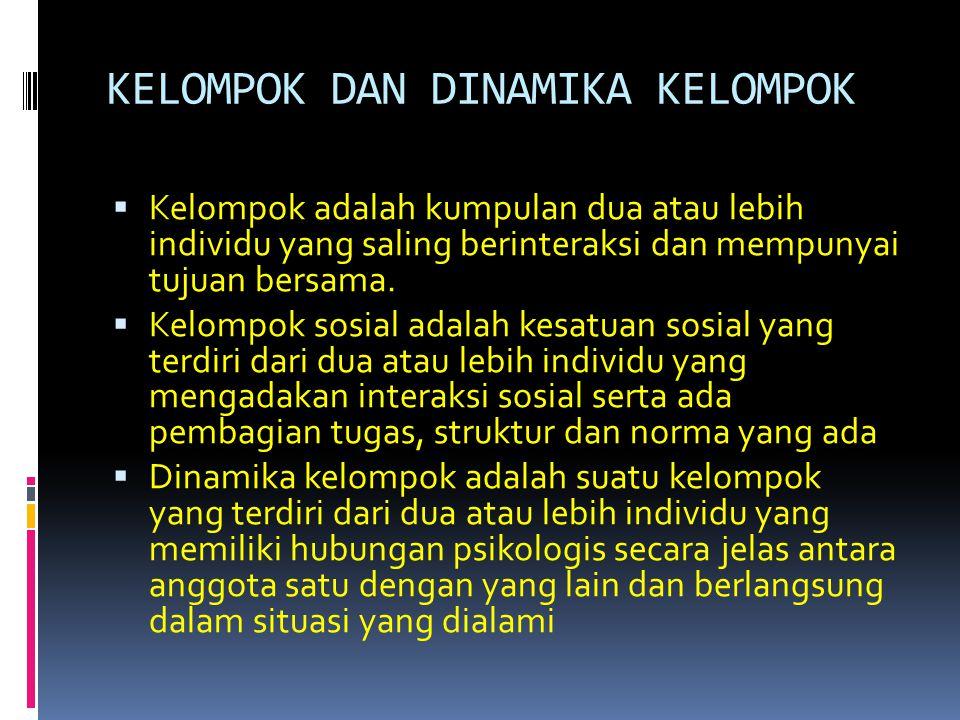 DEFINISI Dinamika kelompok adalah suatu kelompok yang terdiri dari dua atau lebih individu yang memiliki hubungan psikologis secara jelas antara anggota satu dengan yang lain dan berlangsung dalam situasi yang dialami Dinamika kelompok berasal dari kata dinamika dan kelompok.