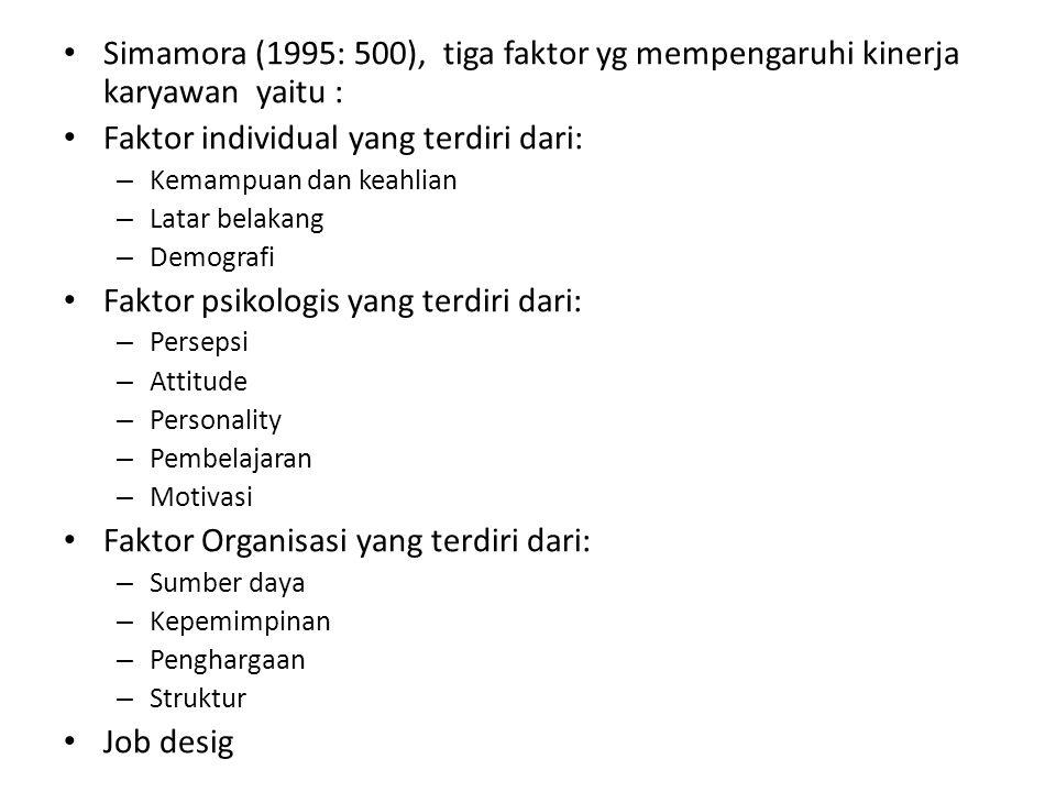 Simamora (1995: 500), tiga faktor yg mempengaruhi kinerja karyawan yaitu : Faktor individual yang terdiri dari: – Kemampuan dan keahlian – Latar belak