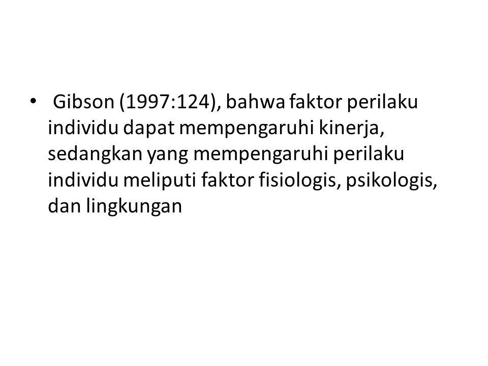 Gibson (1997:124), bahwa faktor perilaku individu dapat mempengaruhi kinerja, sedangkan yang mempengaruhi perilaku individu meliputi faktor fisiologis