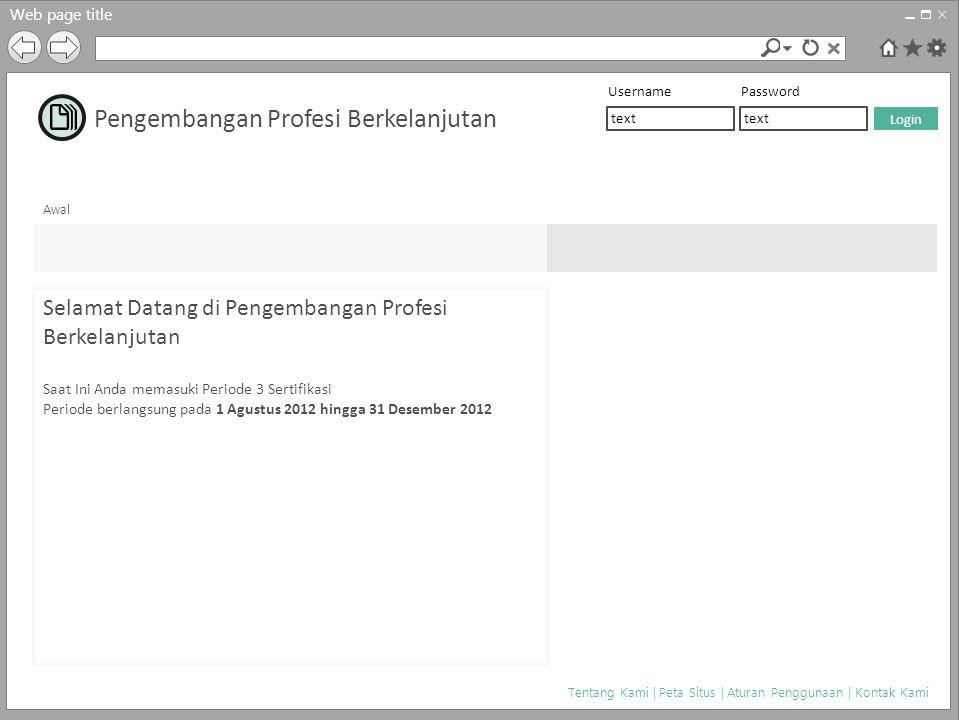 Web page title Awal Tentang Kami | Peta Situs | Aturan Penggunaan | Kontak Kami Selamat Datang di Pengembangan Profesi Berkelanjutan Saat Ini Anda mem
