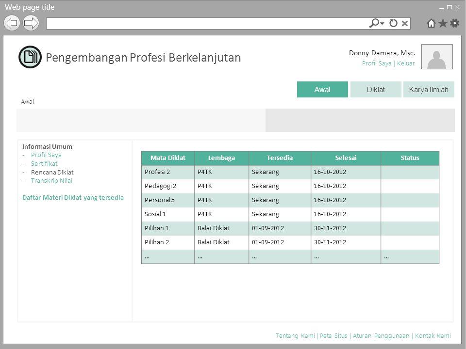 Web page title Donny Damara, Msc. Awal DiklatKarya Ilmiah Tentang Kami | Peta Situs | Aturan Penggunaan | Kontak Kami Profil Saya | Keluar Pengembanga