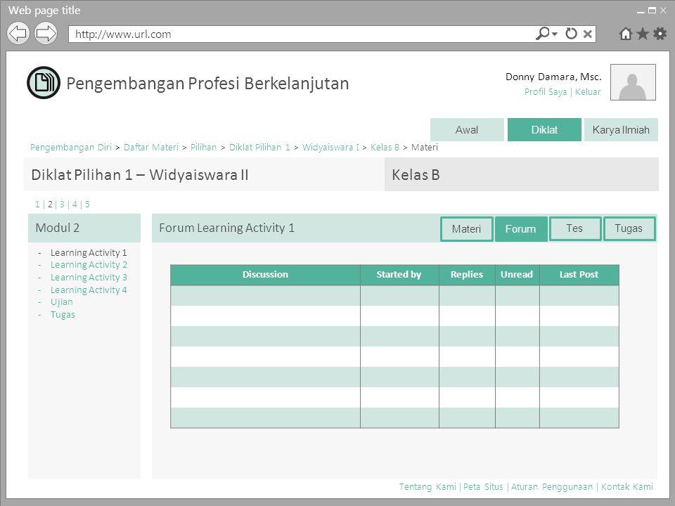 Web page title http://www.url.com Donny Damara, Msc. Pengembangan Diri > Daftar Materi > Pilihan > Diklat Pilihan 1 > Widyaiswara I > Kelas B > Materi