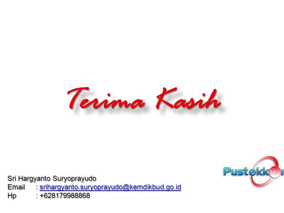 Terima Kasih Terima Kasih Sri Hargyanto Suryoprayudo Email : srihargyanto.suryoprayudo@kemdikbud.go.id srihargyanto.suryoprayudo@kemdikbud.go.id Hp: +