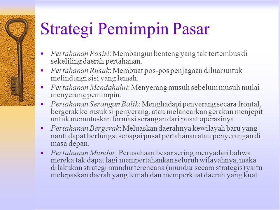 Strategi Pemimpin Pasar  Pertahanan Posisi: Membangun benteng yang tak tertembus di sekeliling daerah pertahanan.