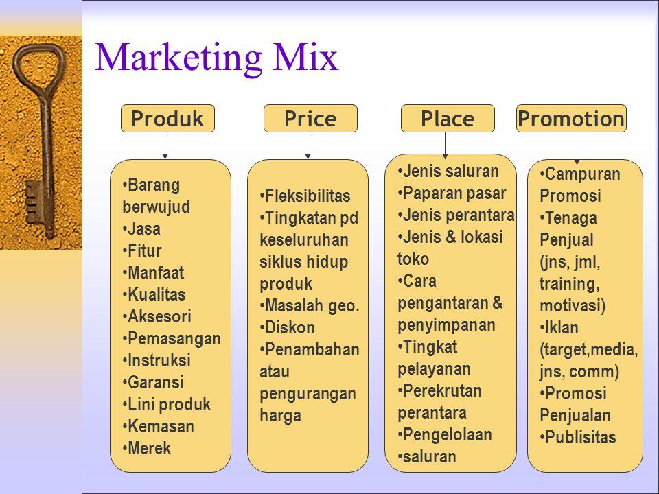 Marketing Mix Produk Barang berwujud Jasa Fitur Manfaat Kualitas Aksesori Pemasangan Instruksi Garansi Lini produk Kemasan Merek Fleksibilitas Tingkatan pd keseluruhan siklus hidup produk Masalah geo.