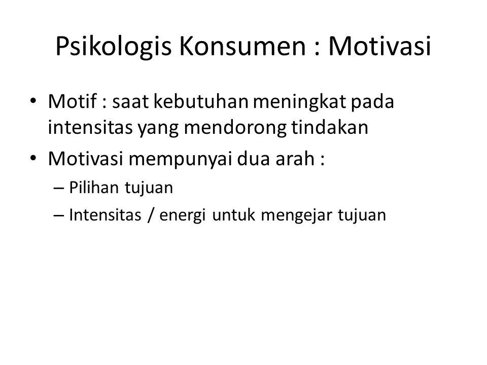 Psikologis Konsumen : Motivasi Motif : saat kebutuhan meningkat pada intensitas yang mendorong tindakan Motivasi mempunyai dua arah : – Pilihan tujuan – Intensitas / energi untuk mengejar tujuan