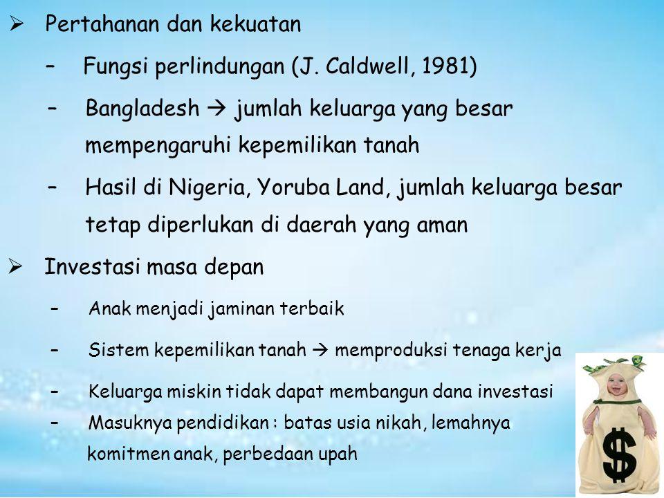  Pertahanan dan kekuatan –Fungsi perlindungan (J. Caldwell, 1981) –Bangladesh  jumlah keluarga yang besar mempengaruhi kepemilikan tanah –Hasil di N