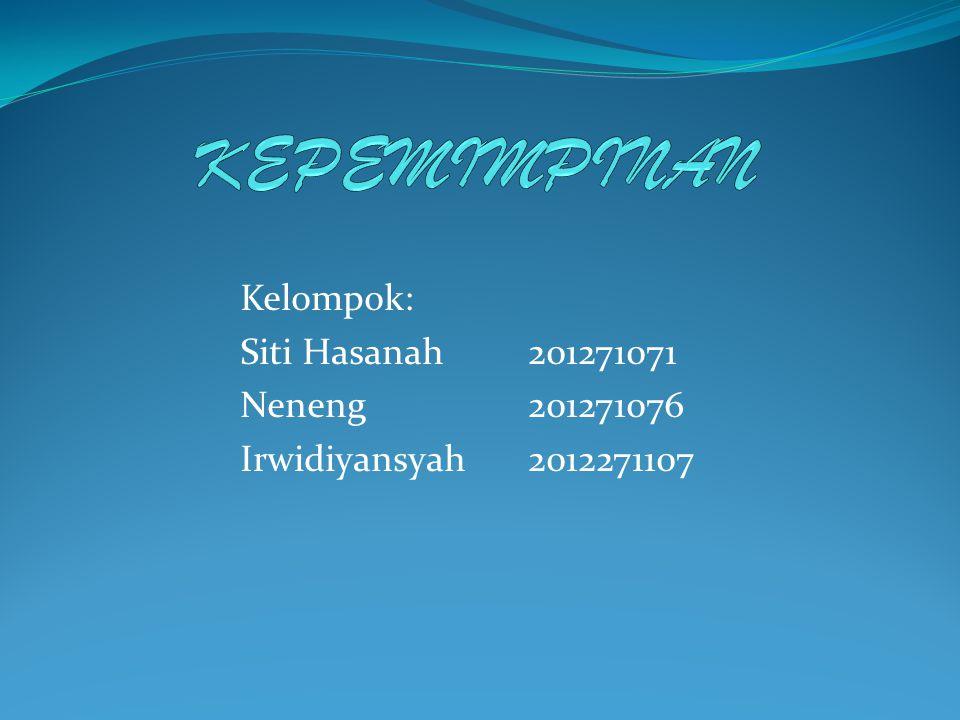 Kelompok: Siti Hasanah 201271071 Neneng 201271076 Irwidiyansyah 2012271107