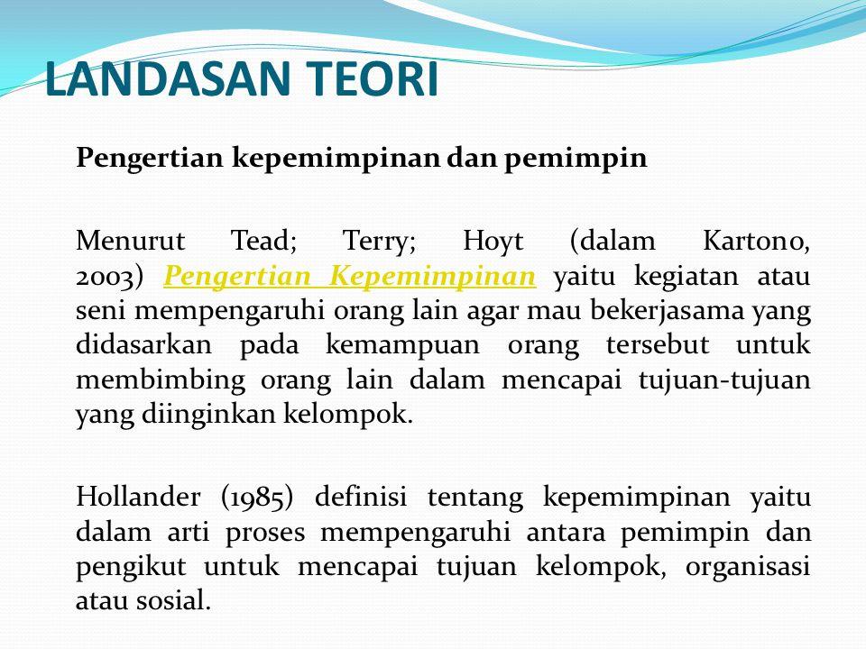 LANDASAN TEORI Pengertian kepemimpinan dan pemimpin Menurut Tead; Terry; Hoyt (dalam Kartono, 2003) Pengertian Kepemimpinan yaitu kegiatan atau seni mempengaruhi orang lain agar mau bekerjasama yang didasarkan pada kemampuan orang tersebut untuk membimbing orang lain dalam mencapai tujuan-tujuan yang diinginkan kelompok.Pengertian Kepemimpinan Hollander (1985) definisi tentang kepemimpinan yaitu dalam arti proses mempengaruhi antara pemimpin dan pengikut untuk mencapai tujuan kelompok, organisasi atau sosial.