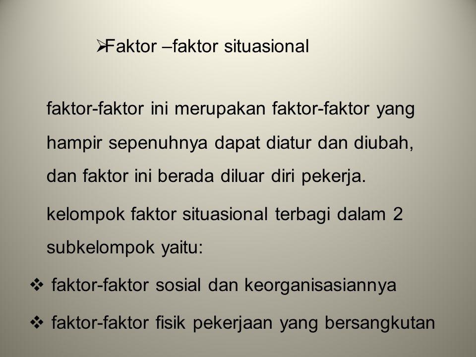  Faktor –faktor situasional faktor-faktor ini merupakan faktor-faktor yang hampir sepenuhnya dapat diatur dan diubah, dan faktor ini berada diluar di