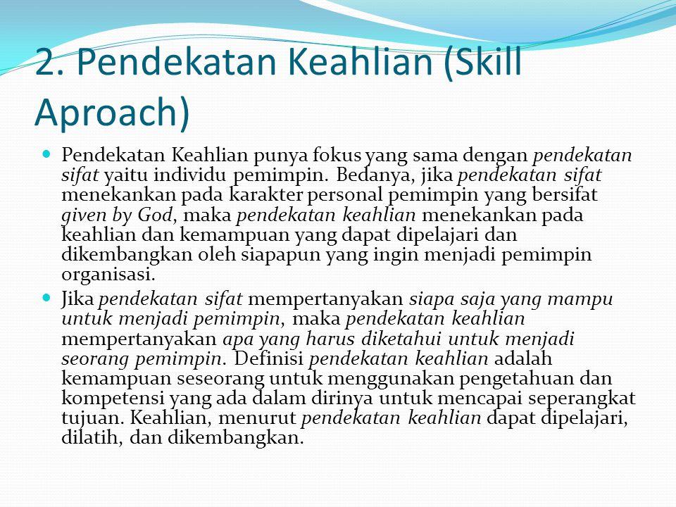 2. Pendekatan Keahlian (Skill Aproach) Pendekatan Keahlian punya fokus yang sama dengan pendekatan sifat yaitu individu pemimpin. Bedanya, jika pendek