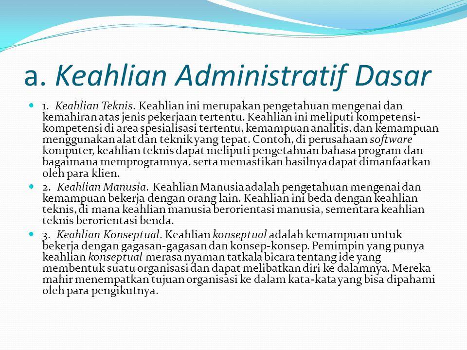 a. Keahlian Administratif Dasar 1. Keahlian Teknis. Keahlian ini merupakan pengetahuan mengenai dan kemahiran atas jenis pekerjaan tertentu. Keahlian