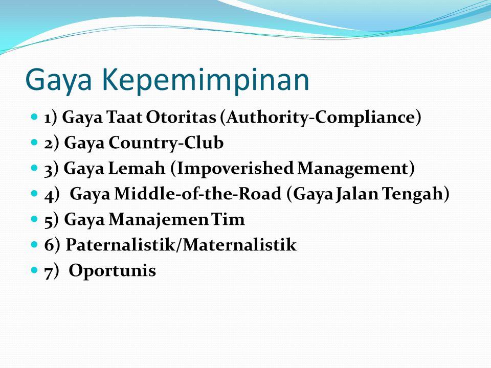 Gaya Kepemimpinan 1) Gaya Taat Otoritas (Authority-Compliance) 2) Gaya Country-Club 3) Gaya Lemah (Impoverished Management) 4) Gaya Middle-of-the-Road