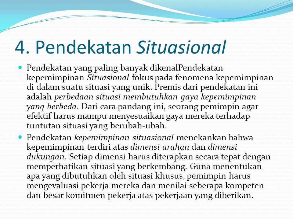 4. Pendekatan Situasional Pendekatan yang paling banyak dikenalPendekatan kepemimpinan Situasional fokus pada fenomena kepemimpinan di dalam suatu sit