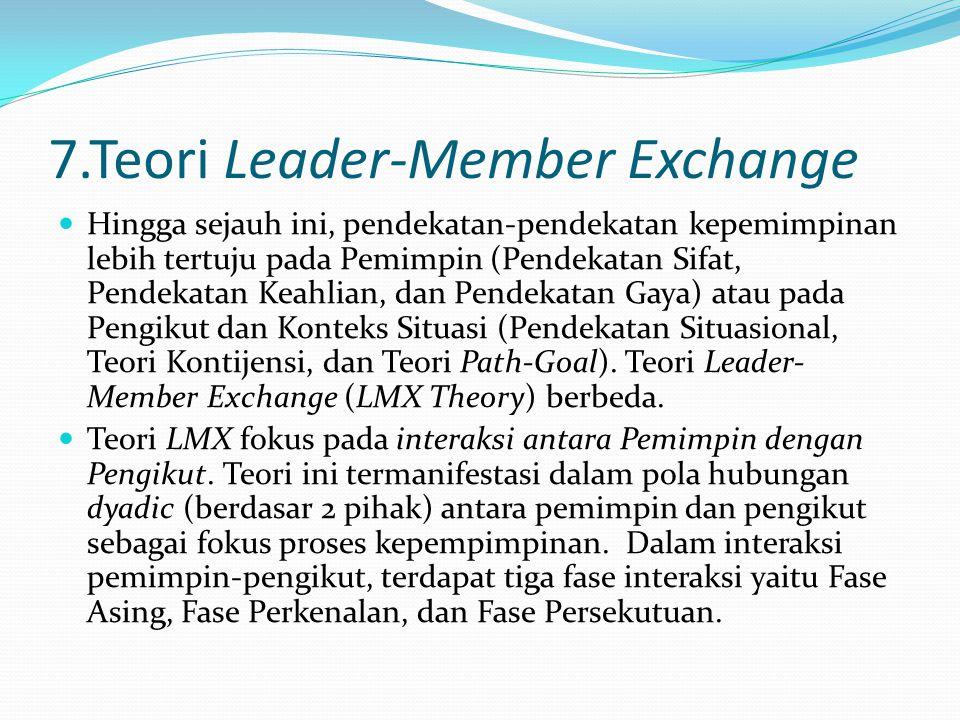 7.Teori Leader-Member Exchange Hingga sejauh ini, pendekatan-pendekatan kepemimpinan lebih tertuju pada Pemimpin (Pendekatan Sifat, Pendekatan Keahlia