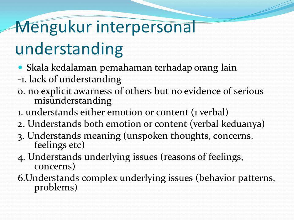 Mengukur interpersonal understanding Skala kedalaman pemahaman terhadap orang lain -1. lack of understanding 0. no explicit awarness of others but no