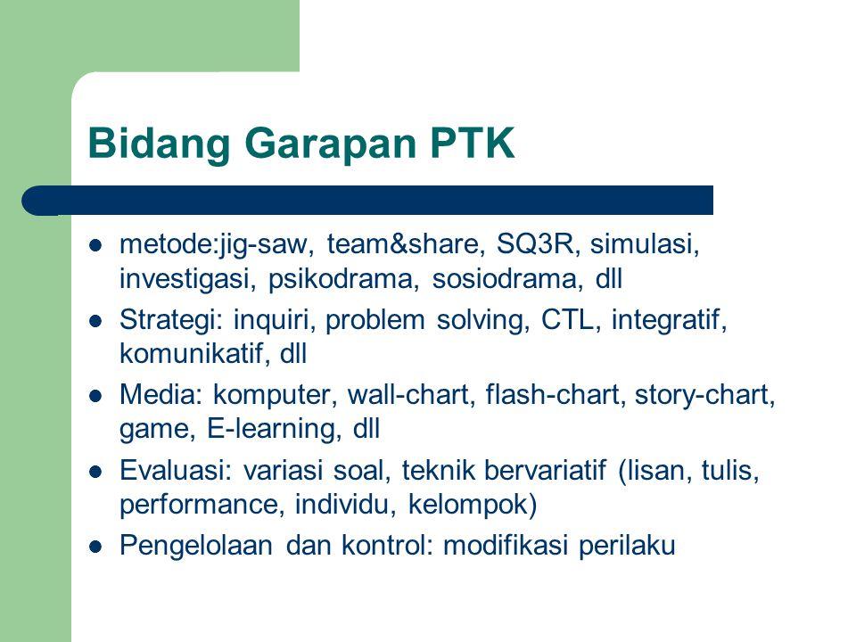 Bidang Garapan PTK metode:jig-saw, team&share, SQ3R, simulasi, investigasi, psikodrama, sosiodrama, dll Strategi: inquiri, problem solving, CTL, integratif, komunikatif, dll Media: komputer, wall-chart, flash-chart, story-chart, game, E-learning, dll Evaluasi: variasi soal, teknik bervariatif (lisan, tulis, performance, individu, kelompok) Pengelolaan dan kontrol: modifikasi perilaku