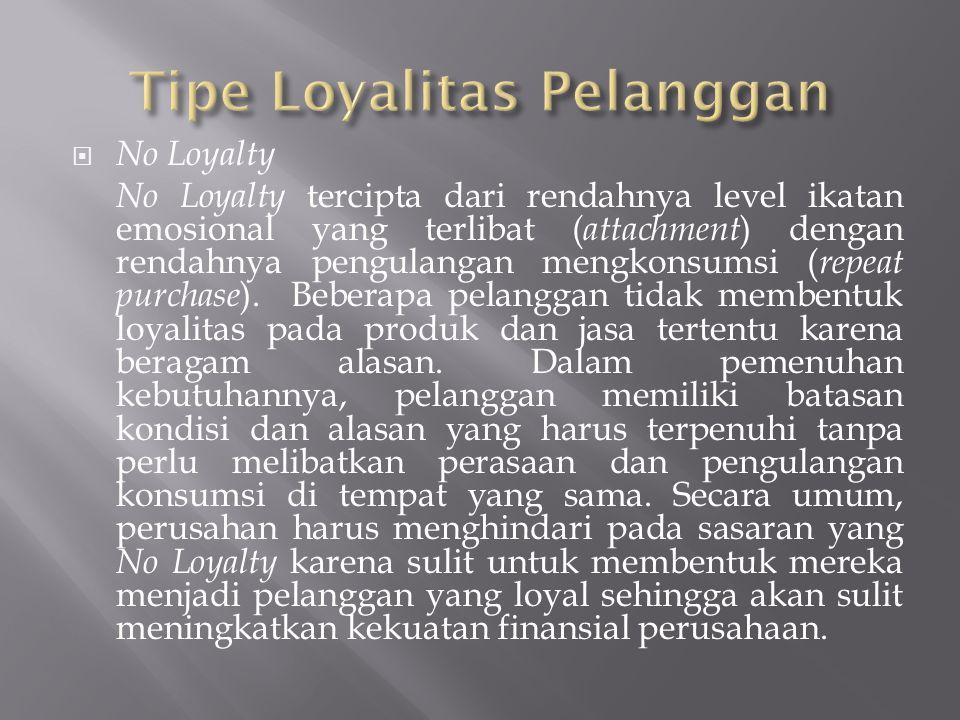  No Loyalty No Loyalty tercipta dari rendahnya level ikatan emosional yang terlibat ( attachment ) dengan rendahnya pengulangan mengkonsumsi ( repeat