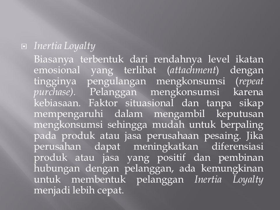  Inertia Loyalty Biasanya terbentuk dari rendahnya level ikatan emosional yang terlibat ( attachment ) dengan tingginya pengulangan mengkonsumsi ( re
