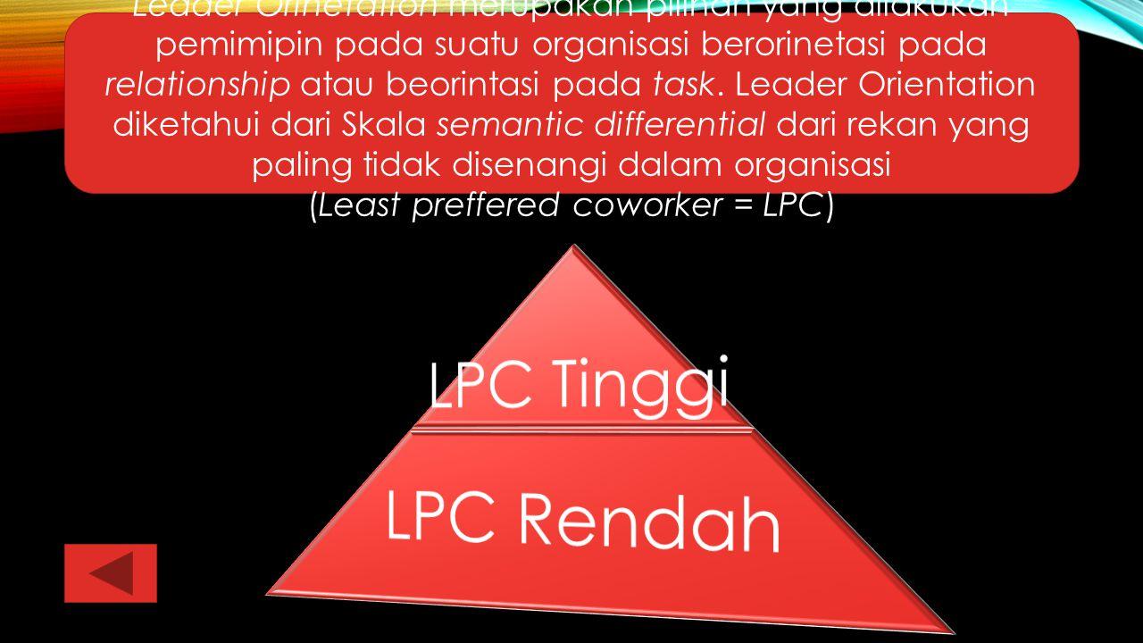 Leader Orinetation merupakan pilihan yang dilakukan pemimipin pada suatu organisasi berorinetasi pada relationship atau beorintasi pada task. Leader O