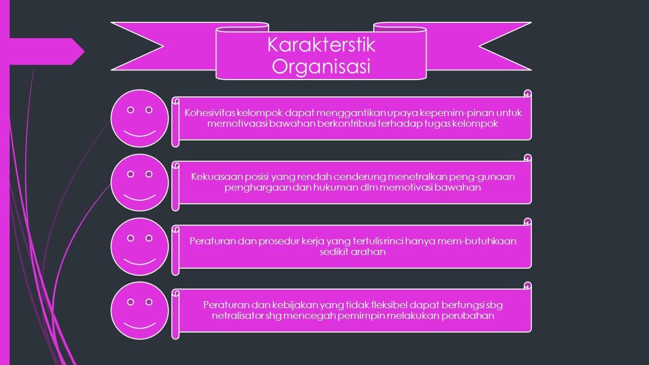 Karakterstik Organisasi Kohesivitas kelompok dapat menggantikan upaya kepemim-pinan untuk memotivaasi bawahan berkontribusi terhadap tugas kelompok Ke