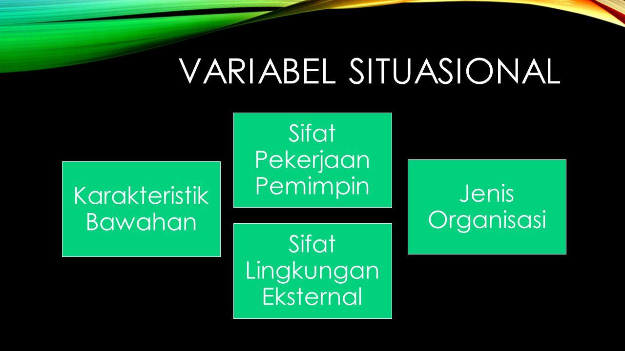 VARIABEL SITUASIONAL Karakteristik Bawahan Sifat Pekerjaan Pemimpin Jenis Organisasi Sifat Lingkungan Eksternal