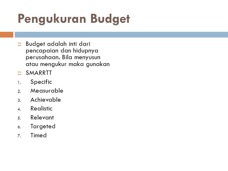 Pengukuran Budget  Budget adalah inti dari pencapaian dan hidupnya perusahaan. Bila menyusun atau mengukur maka gunakan  SMARRTT 1. Specific 2. Meas