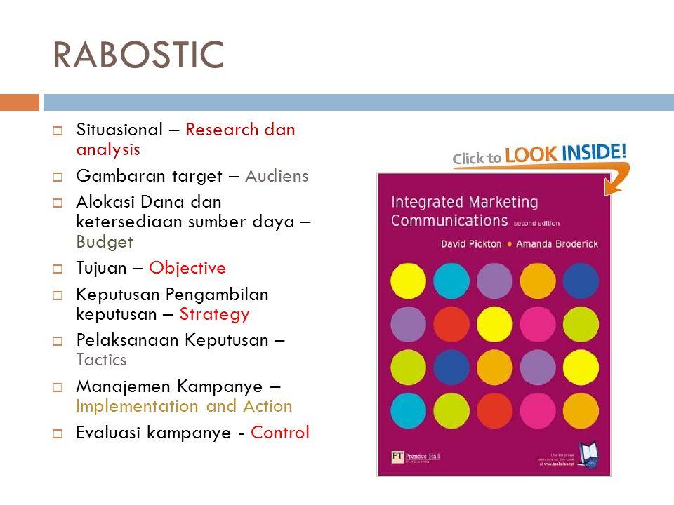 RABOSTIC  Situasional – Research dan analysis  Gambaran target – Audiens  Alokasi Dana dan ketersediaan sumber daya – Budget  Tujuan – Objective 